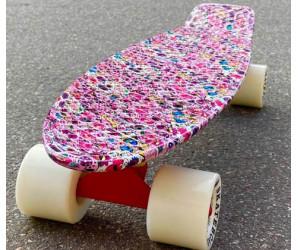 """Fish SkateBoards мини-круизер 22"""" розовый с черепами"""