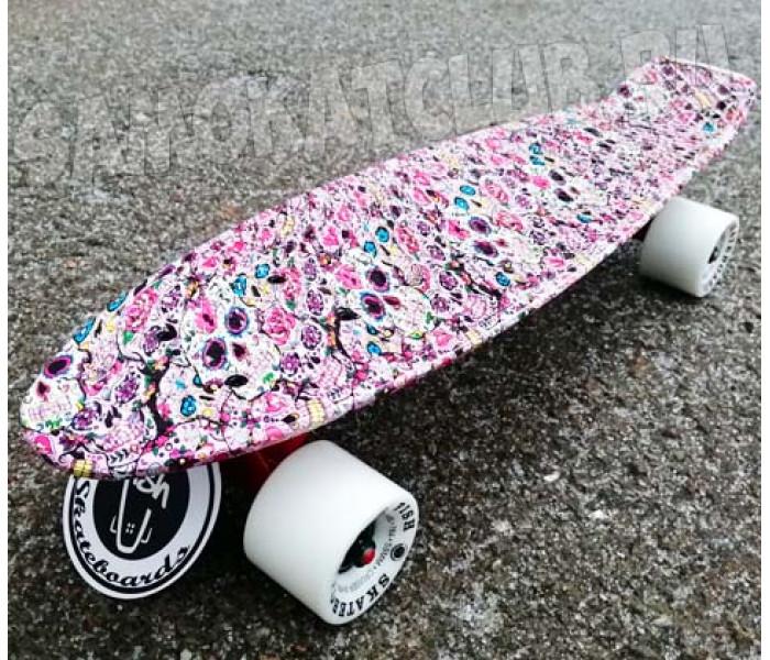 """Пенни борд Fish Skateboards 22"""" розовый с рисунком"""