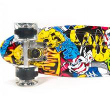"""Пенни борд Fish Skateboards 22"""" Граффити светятся колеса"""