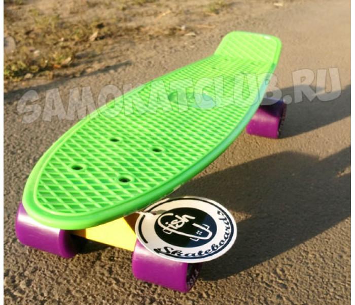 """Скейтборд пластиковый FISH 22"""" зеленый с фиолетовыми колесами"""