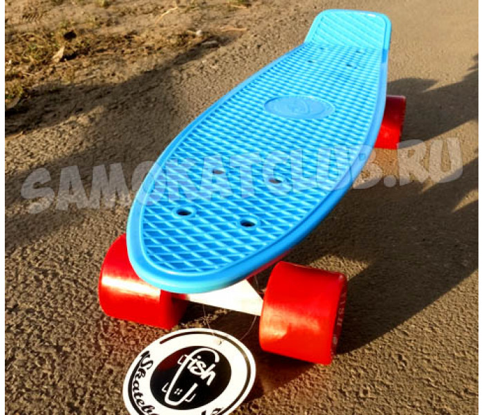 """Скейтборд пластиковый FISH 22"""" голубой с красными колесами"""