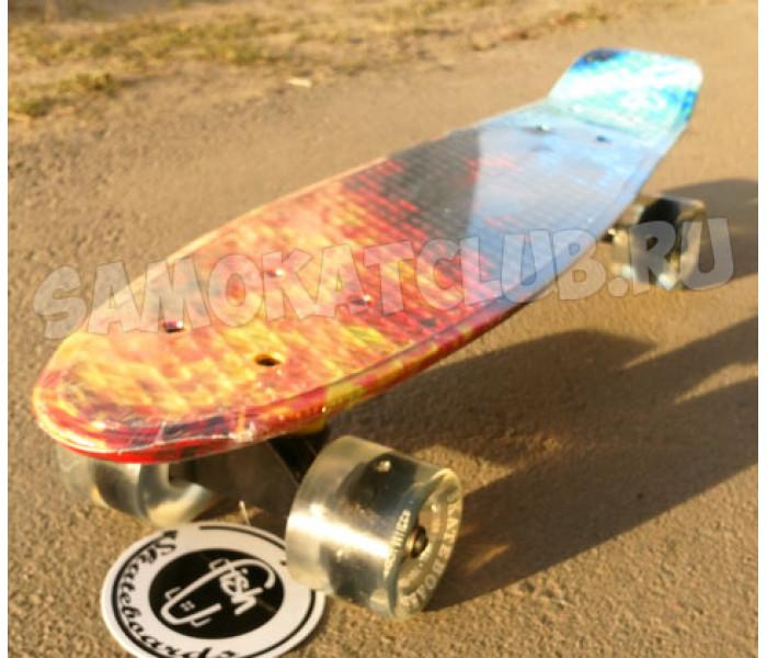 """Скейтборд пластиковый FISH 22"""" Flame (колеса светятся)"""