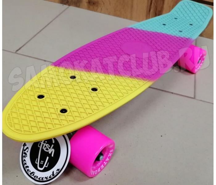 "Скейтборд пластиковый FISH 22"" Триколор розовый"