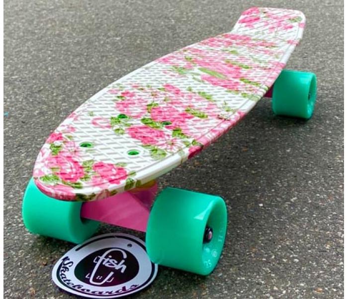 """Скейт для девочек Fish Flowers 22"""" с цветами и коесами мятного цвета"""