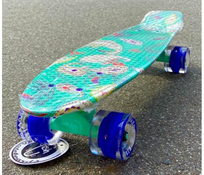 Скейт Fish Мятного цвета с узорами  22 дюйма светятся колеса