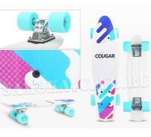 """Мини-круизер COUGAR 22"""" белого цвета с мятными колесами"""