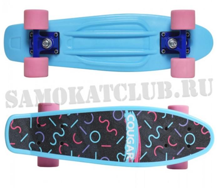 """Скейтборд COUGAR 22"""" голубой с цветным принтом"""