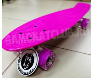 "Fish SkateBoards мини-круизер 22"" розовый со светящимися колесами"