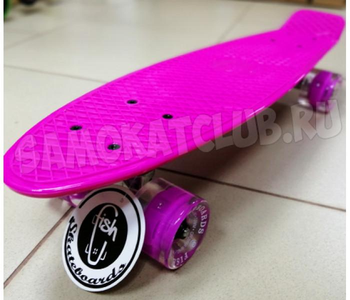 Скейт Фиш 22 дюйма Розовый для девочек с розовыми колесами