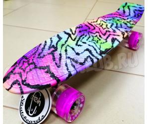 """Fish Zebra 22"""" Мини-круизер для девочек со светящимися колесами"""