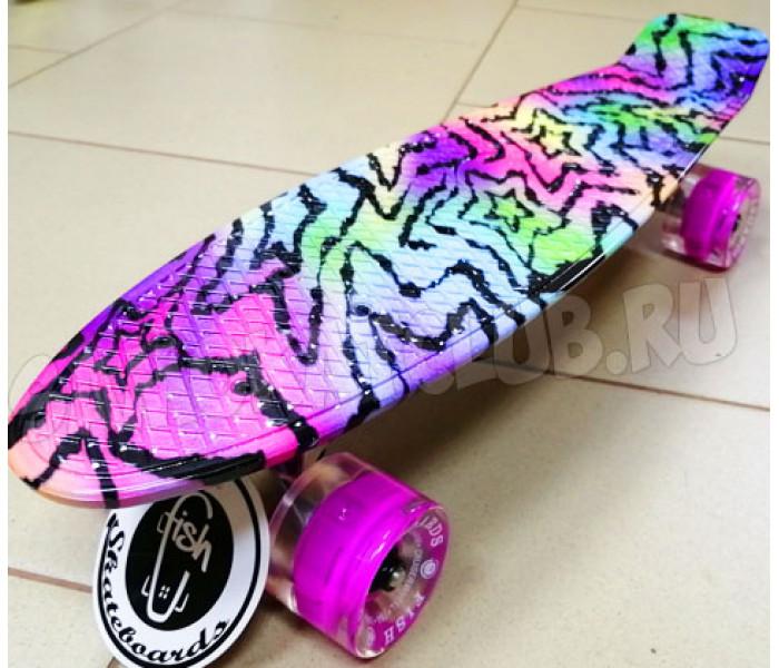 Скейт Фиш 22 дюйма Zebra Розовый с розовыми колесами