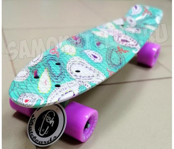 Скейт Fish Мятного цвета с узорами  22 дюйма