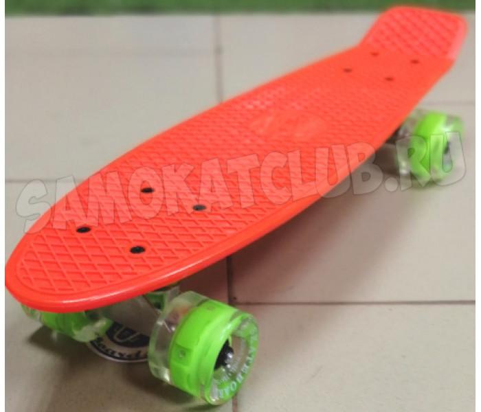 Скейт Fish оранжевый 22 дюйма колеса светящиеся