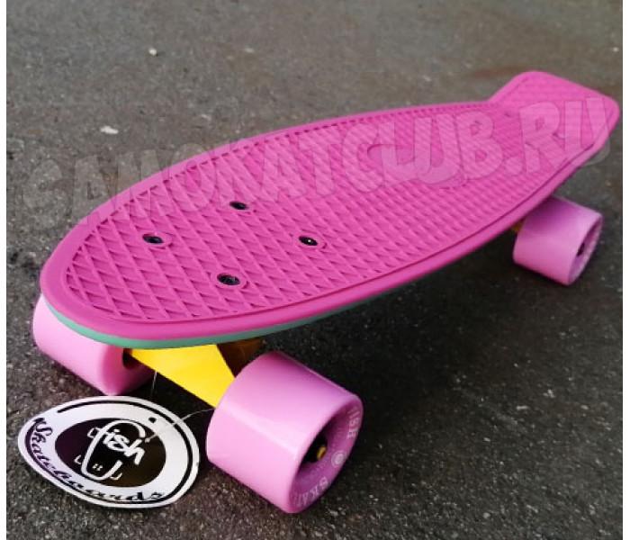 """Скейтборд пластиковый FISH 22"""" Мятно-розовый"""