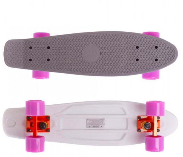 "Скейт Fish Skateboards 22"" серо-белый с розовыми колесами"