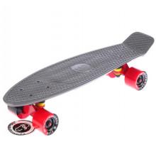 """Fish SkateBoards мини-круизер 22"""" серый с цветными колесами"""
