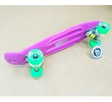 """Круизер  Fish Skateboards 22"""" фиолет со светящимися колесами"""
