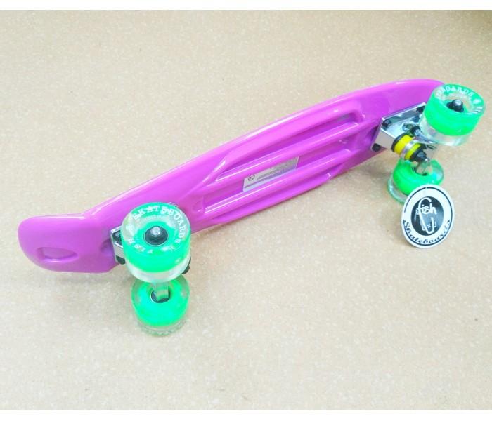 Мини круизер  Fish Skateboards фиолетовый со светящимися колесами