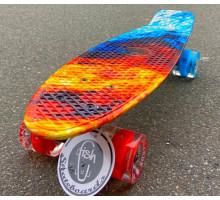 "Fish SkateBoards Огонь мини-круизер 22"" со светящимися колесами"