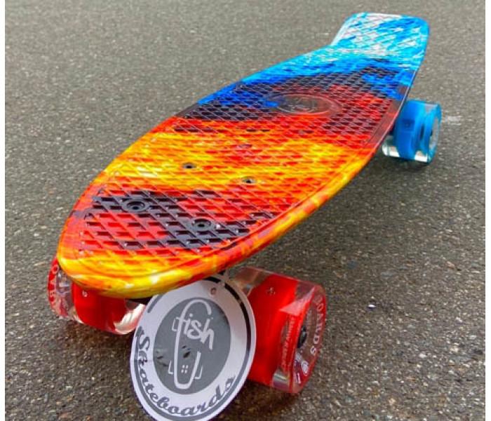 """Скейтборд пластиковый FISH 22"""" Flame огненный"""