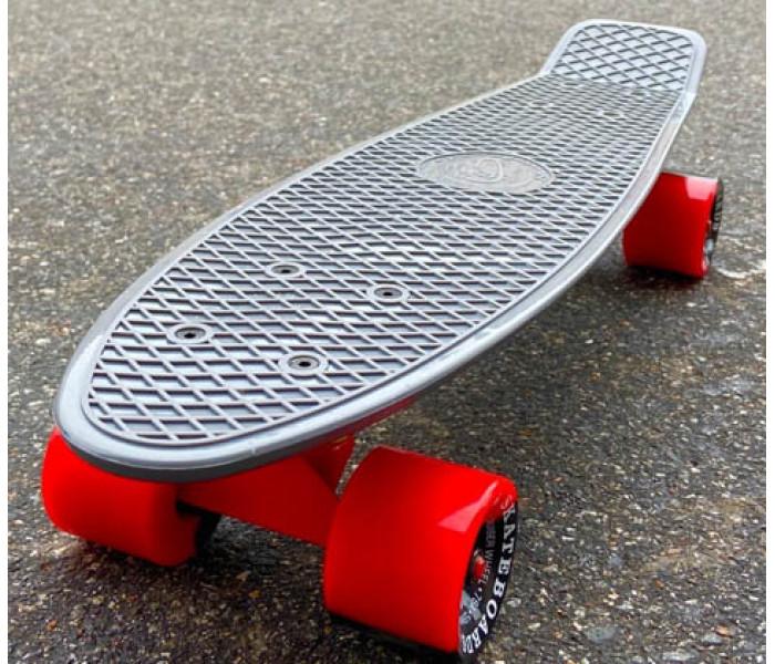 "Скейт Fish Skateboards 22"" серый с цветными колесами"
