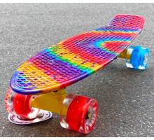 """Fish SkateBoards Радуга мини-круизер 22"""" колеса светящиеся"""