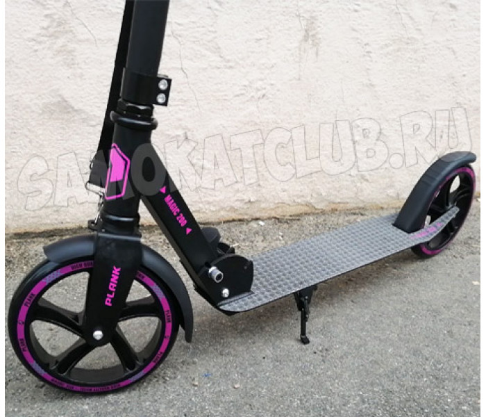 Cамокат PLANK MAGIC 200 черно-фиолетовый с большими колесами 200мм