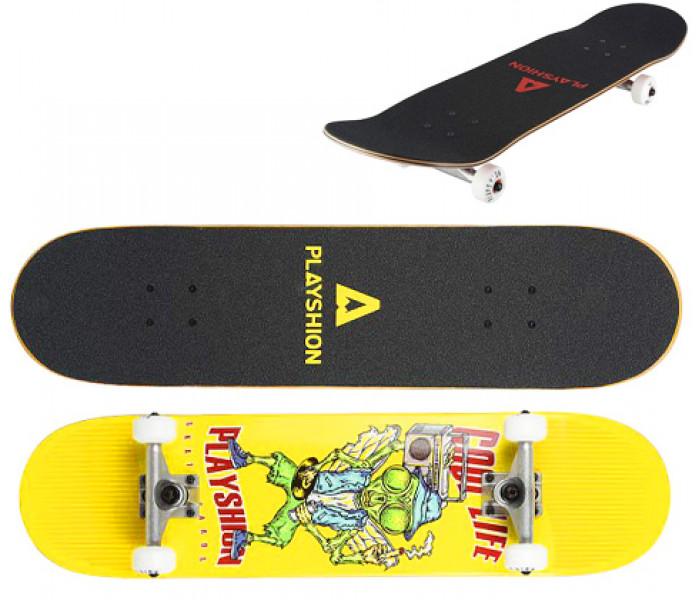 Скейтборд деревянный Playshion COOL LIFE (желтый)