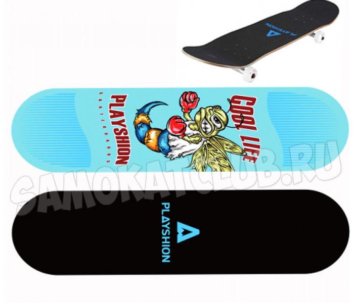 Скейтборд деревянный Playshion COOL LIFE (голубой)