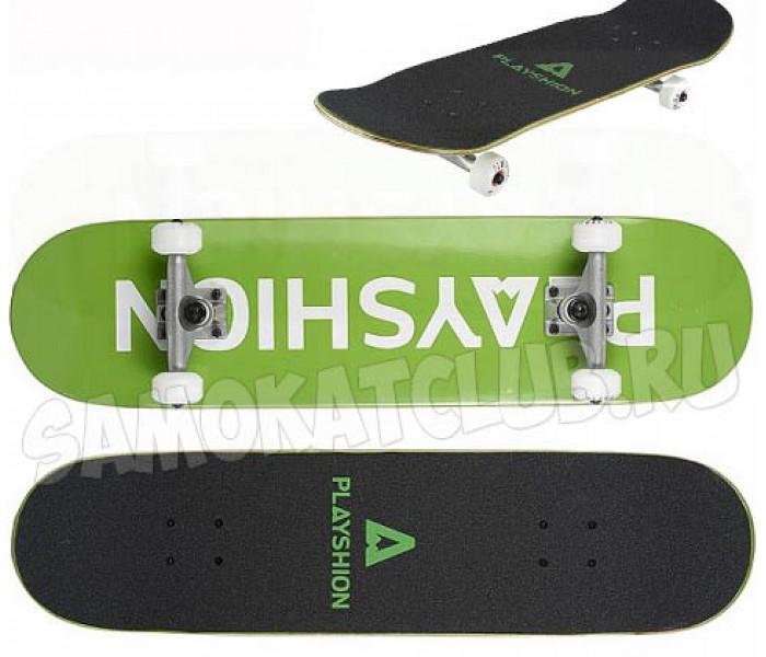Скейтборд деревянный Playshion GUN (зеленый)