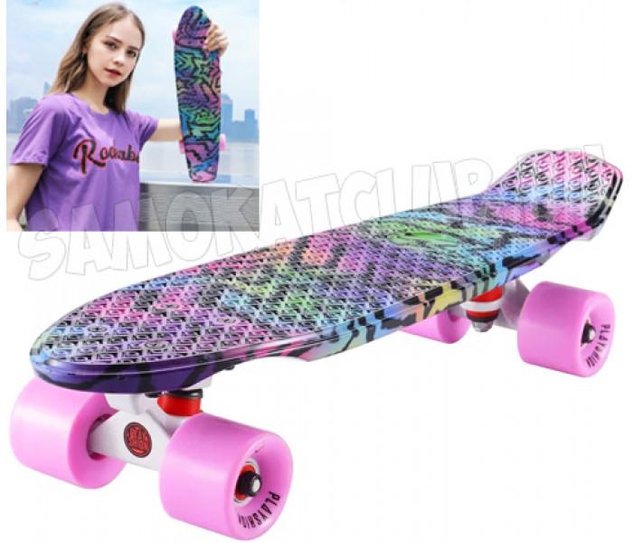 Мини-круизер PLAYSHION FLASH PINK STARS (розово-фиолетовый) 22 дюйма