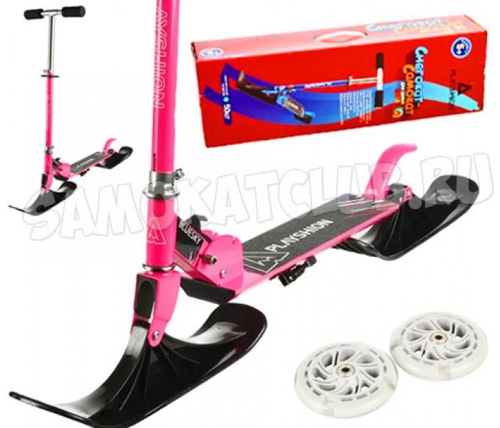Снегосамокат 2 в 1 BLUESKY-SNW Playshion со светящимися колесами (розовый)