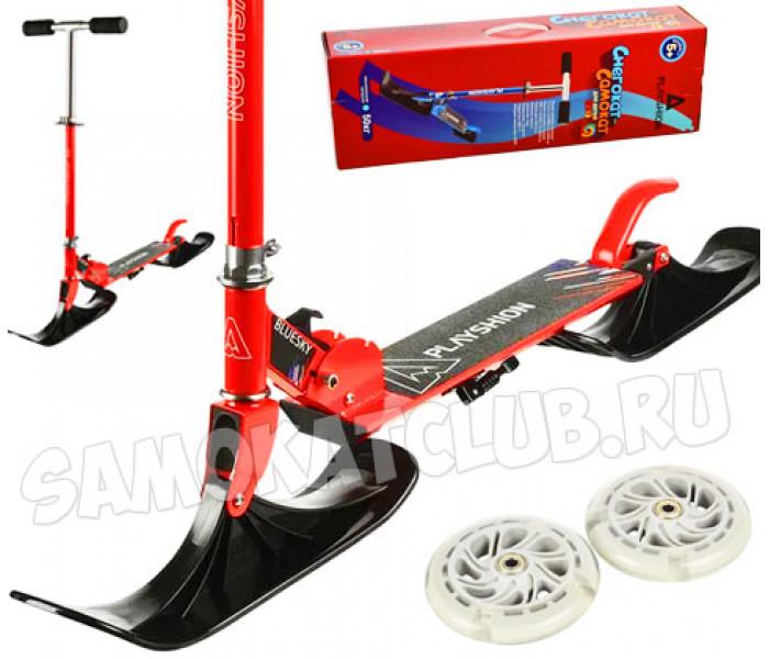 Снегосамокат 2 в 1 BLUESKY-SNW Playshion со светящимися колесами (красный)