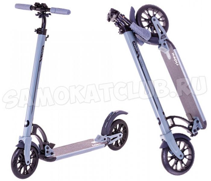 Самокат RIDEX Project (2019) серый с резиновыми колесами и амортизатором