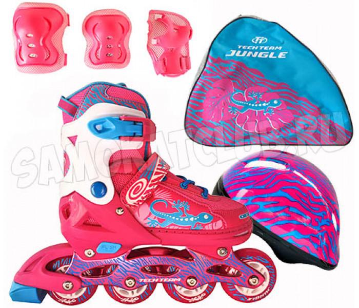 Ролики детские с шлемом и защитой в сумке TT JUNGLE SET 2019 раздвижные