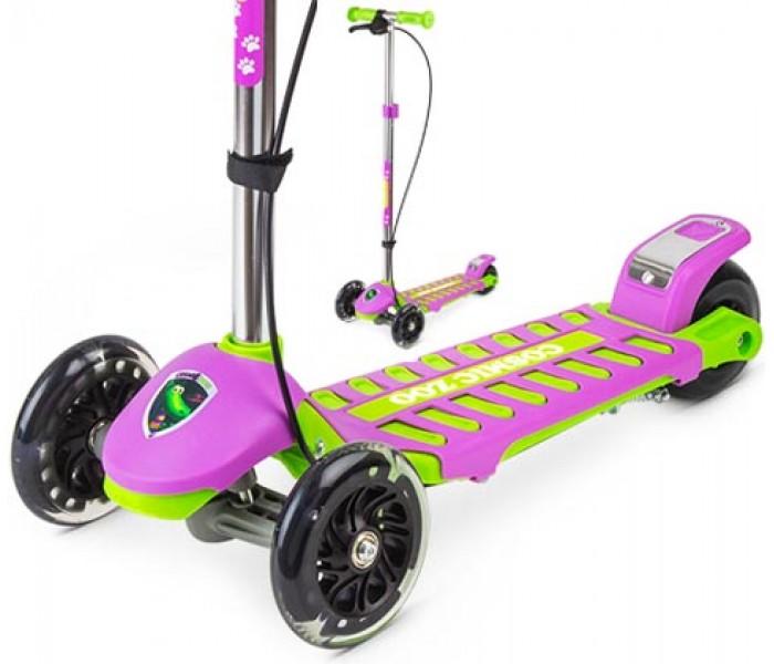 Самокат Small Rider Galaxy (светящиеся колеса и ручной тормоз) зелено-фиолетовый
