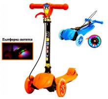Детский самокат с тормозом на руле со светящимися колёсами и платформой