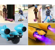Детский самокат FEILE с дымом, турбиной и музыкой. Колеса LED. Складной