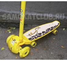 """Скейтборд-самокат """"Жираф"""" для детей 2в1 светящиеся колеса"""