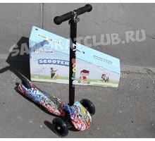 Самокат детский Scooter PRINT (с рисунком) колеса светятся