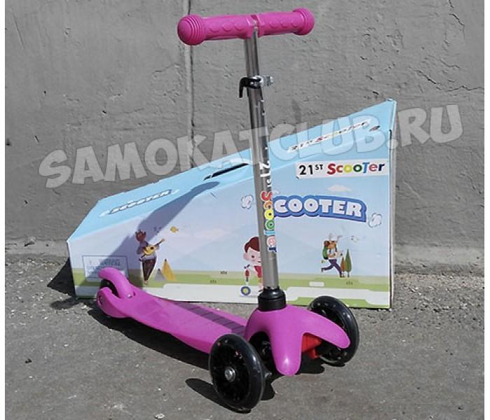 Детский самокат(кикборд) с регулируемым по высоте рулем и светящимися колесами