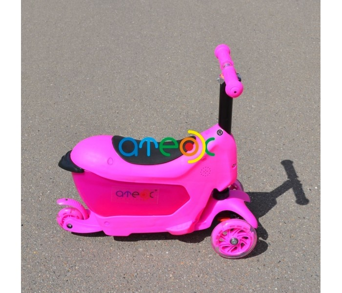 Трехколесный самокат-беговел ATEOX Pink с ящиком для игрушек