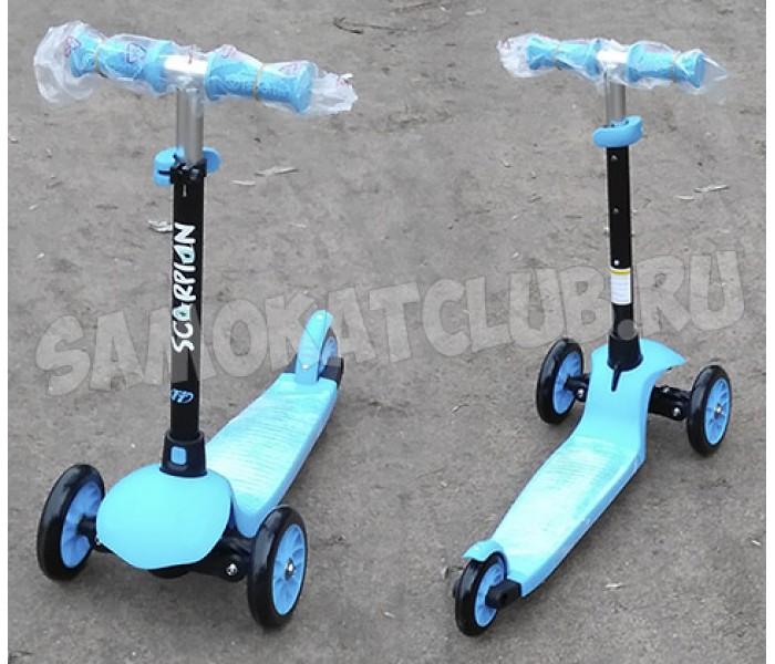 Детский трехколесный самокат TT SCORPION BLUE поворачивает наклоном