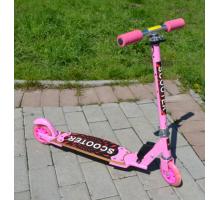 Самокат 125 мм для девочек розовый с деревянной декой и светящимися колесами