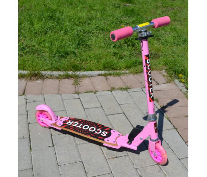 Розовый самокат для девочек со светящимися колесами 125мм