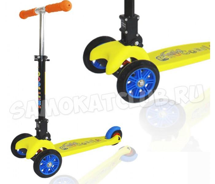 Трехколесный самокат Swift Scoo Explore со складной ручкой (желтый) + передние светящиеся колеса