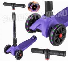 Складной самокат Tech Team Tiger Plus со светящимися колесами (фиолетовый)