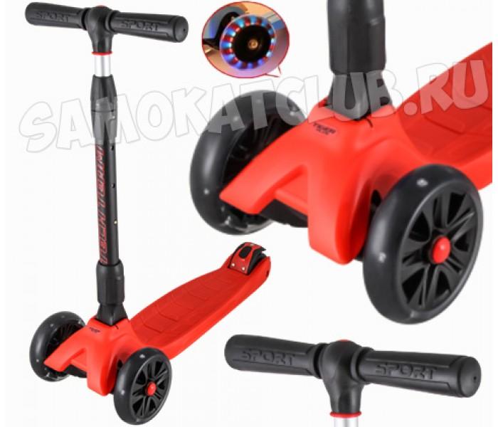 Самокат детский TT Tiger Plus складной со светящимися колесами (красный)