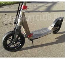 Самокат с большими надувными колесами и амортизаторами (Хаки)