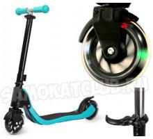 Scooter голубой самокат со светящимися колесами. Для детей от 4 лет